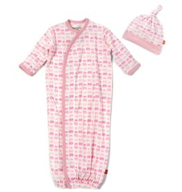Magnificent Baby Pink Dancing Elephant Modal Gown Set