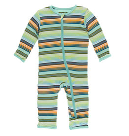 Kickee Pants Print Coverall (Zipper) Cancun Glass Stripe