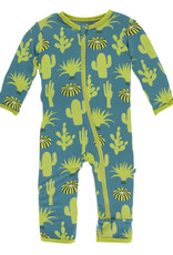 Kickee Pants Print Coverall (Zipper) Seagrass Cactus