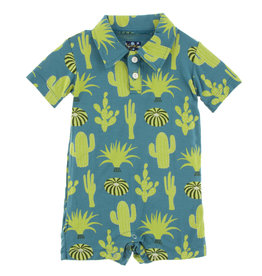 Kickee Pants Print SS Polo Romper Seagrass Cactus