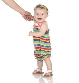 Kickee Pants Gathered Bow Romper Cancun Strawberry Stripe