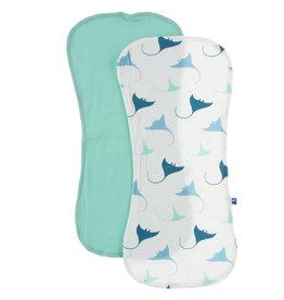Kickee Pants Burp Cloth Set Natural Manta Ray/Glass