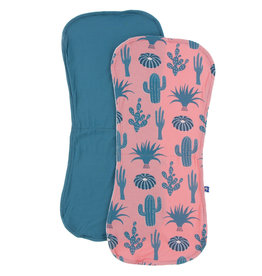 Kickee Pants Burp Cloth Set Strawberry Cactus and Seagrass