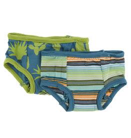 Kickee Pants Training Pants Set Cancun Glass Stripe/Seagrass Cactus