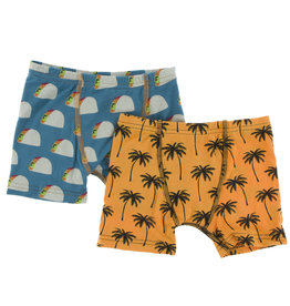 Kickee Pants Boxer Briefs Set Seagrass Tacos/Palm Trees