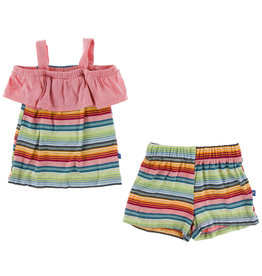 Kickee Pants Print Cancun Outfit Set Strawberry Stripe