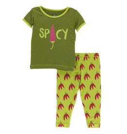 Kickee Pants Print SS Pajama Set Meadow Chili Peppers
