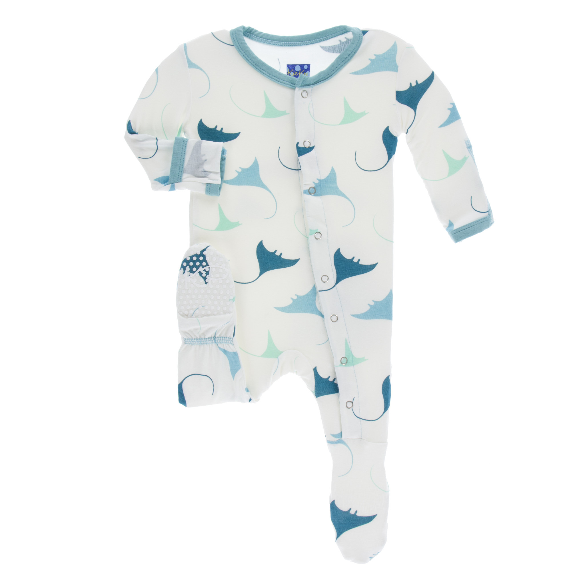Kickee Pants Print Footie (Snaps) Natural Manta Ray