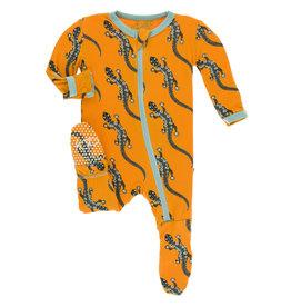 Kickee Pants Print Footie (Zipper) Apricot Bead Lizard