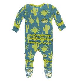Kickee Pants Print Muff.Ruffle Footie (Zipper) Seagrass Cactus