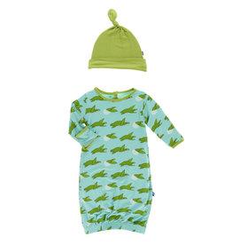 Kickee Pants Print Gown & Knot Hat Set Glass Sea Turtles, 0/3M