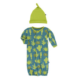Kickee Pants Print Converter & Knot Hat Set Seagrass Cactus