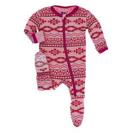 Kickee Pants Print Footie (Zipper) Strawberry Mayan Pattern