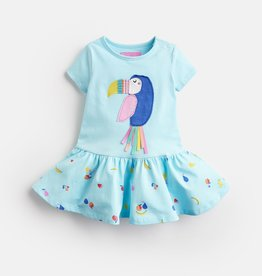 Joules Katy Dress Aqua Fruit Toucan