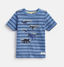 Joules Ben Shirt Blue Stripe Dino Fact