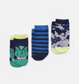Joules Eat Feet Shorty Navy Dino Socks