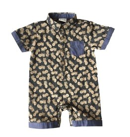 Fore!! Axel & Hudson SS Dark Gray Pineapple Print Playsuit
