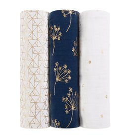 Aden & Anais Metallic Gold Deco 3-Pack Classic Swaddles