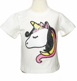 Doe A Dear Neon Sequin Unicorn Face Tee