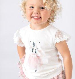 Doe A Dear Flutter Lace Sleeve Ballerina Tulle Skirt Tee