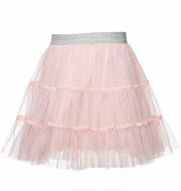 Doe A Dear Pink Tiered Tulle Midi Skirt Silver Waistband