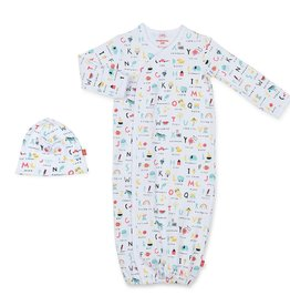 Magnificent Baby ABC Love Magnetic Gown & Hat Set, NB/3M