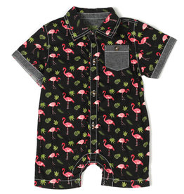 Kapital K Flamingo Printed Button-Down Romper