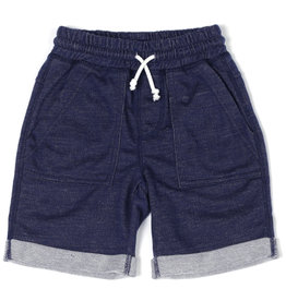 Kapital K Indigo Denim Knit Roll-Up Pull-On Short