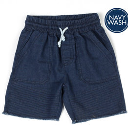Kapital K Navy Wash Denim Pull-On Short Fringe Trim