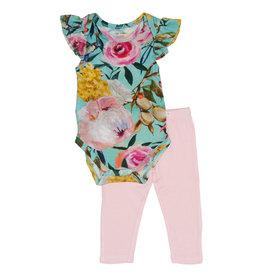 Posh Peanut Floral Bodysuit & Pants Set Tuscan Teal