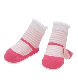 Mud Pie Pink Stripe Tassel Socks