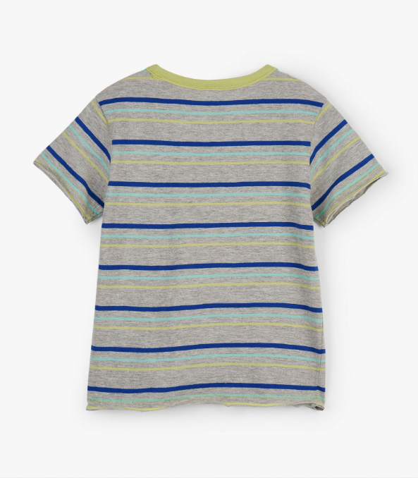Hatley Athletic Gray Lime & Blue Stripes Tee