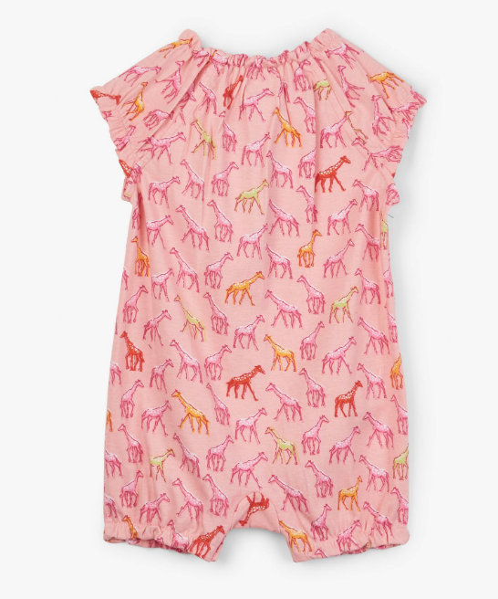 Hatley Rainbow Giraffes Baby Romper Gelato Pink