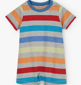 Hatley Rainbow Stripes Baby Romper Grey