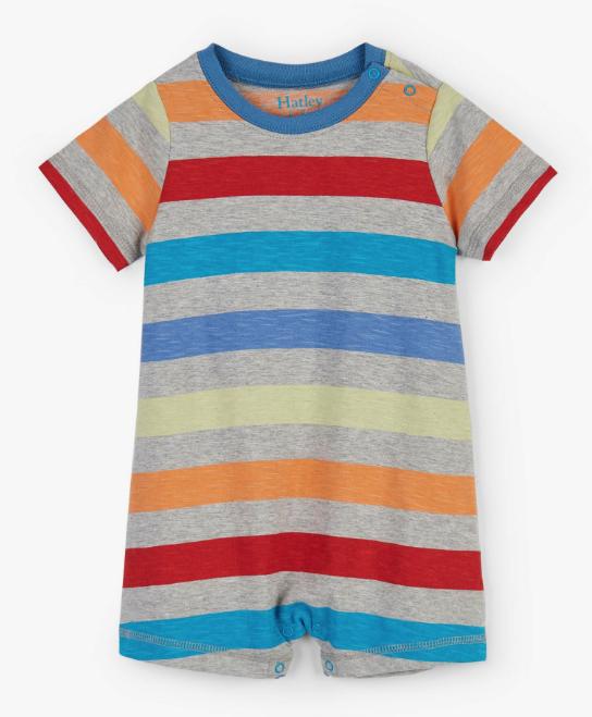 Hatley Rainbow Stripes Baby Romper Grey