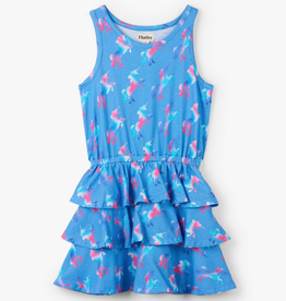 Hatley Rainbow Unicorns Ruffle Dress Skylight