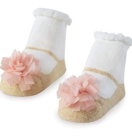 Mud Pie Mesh Pom Gold Shoe Socks
