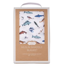 Mud Pie Muslin Fishing Swaddle Blanket