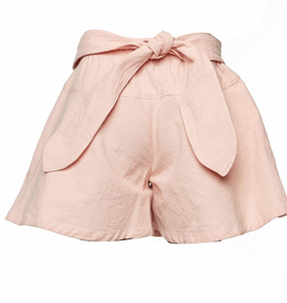 Doe A Dear Elastic Tie Front Flair Shorts Pink