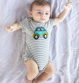 Mimi & Maggie Beetle Car Stripe Romper Grey