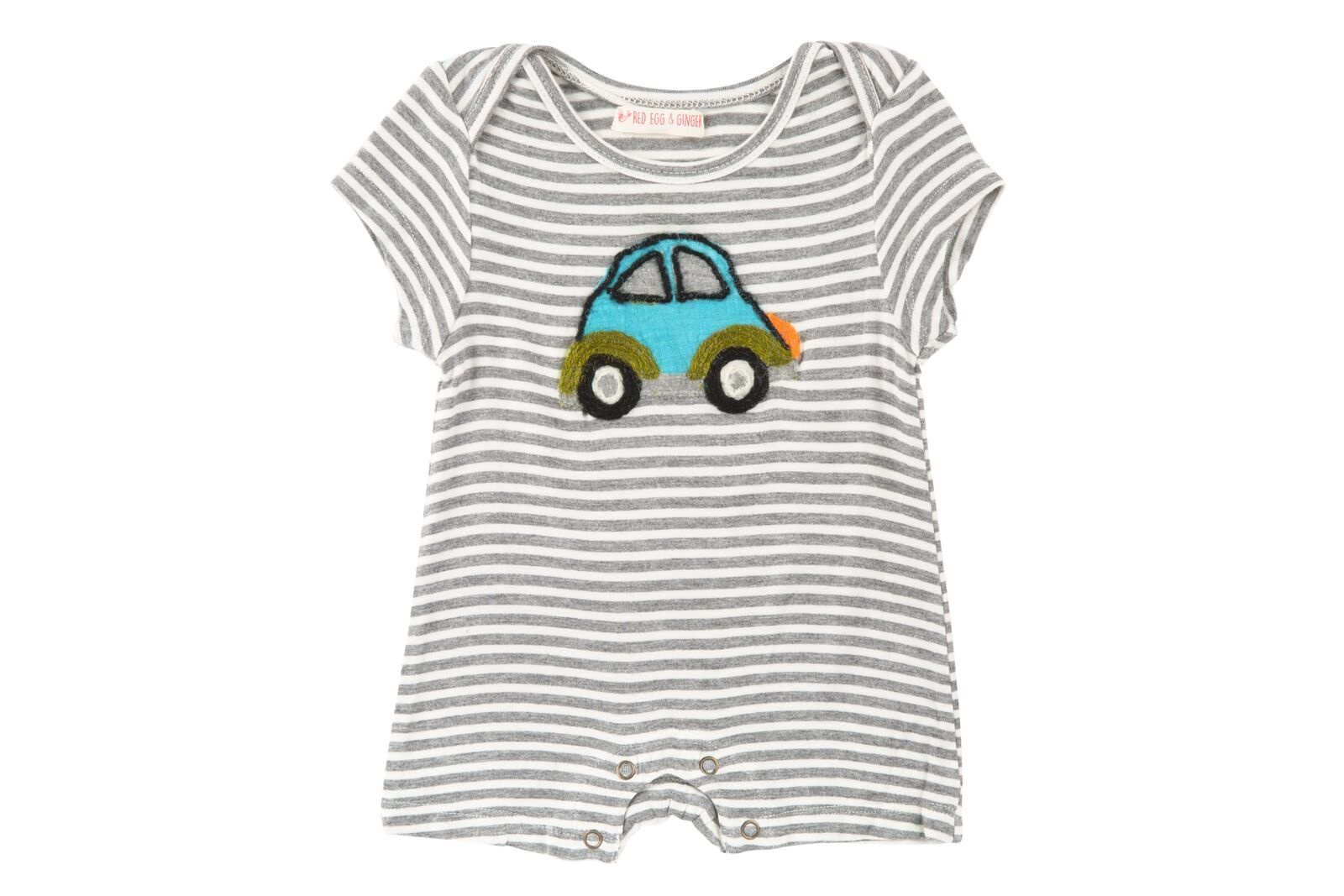 Mimi & Maggie Beetle Car Stripe Romper Grey
