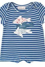 Mimi & Maggie Fishing Day Stripe Romper Indigo