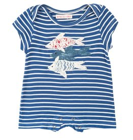 Mimi & Maggie Fishing Day Stripe Romper Indigo