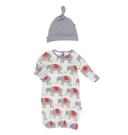 Kickee Pants Print Gown & Knot Hat Set Natural Indian Elephant