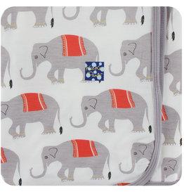 Kickee Pants Print Swaddling Blanket Natural Indian Elephant
