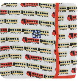 Kickee Pants Print Swaddling Blanket Natural Indian Train
