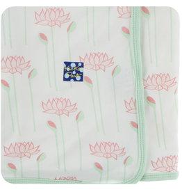 Kickee Pants Print Swaddling Blanket Natural Lotus Flower