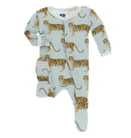 Kickee Pants Print Footie (Snaps) Spring Sky Tiger