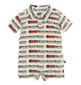 Kickee Pants Print SS Polo Romper Natural Indian Train