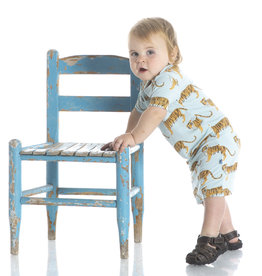 Kickee Pants Print SS Polo Romper Spring Sky Tiger